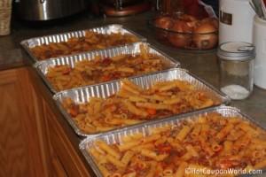 Baked Rigatoni Pasta Freezer Meal (In Pans)