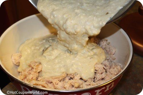Freezer Meal - Creamy Chicken Enchiladas - Pour sauce over chicken