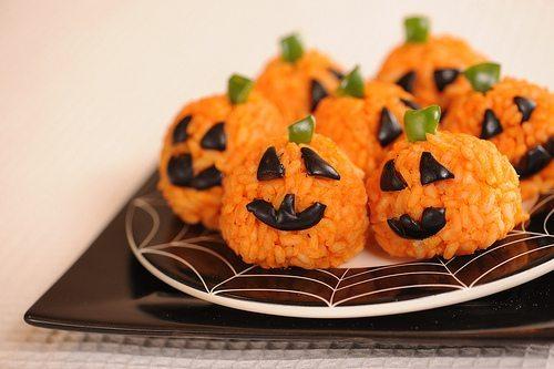 Carrot Rice Ball Mini-Jack o' Lanterns