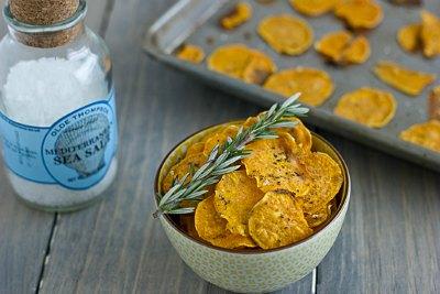 Garlic Rosemary Baked Sweet Potato Chips