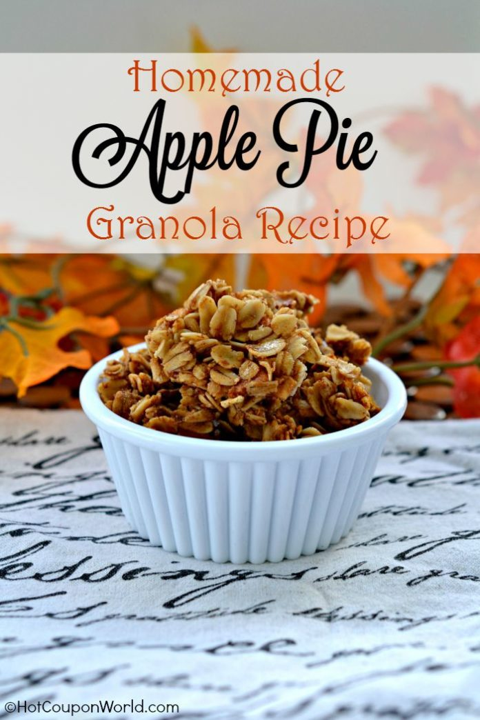 Homemade Apple Pie Granola Recipe - Taste the warm and hearty flavors of fall with this homemade granola recipe that is full of warm apple pie spices and chunks of dried apples!