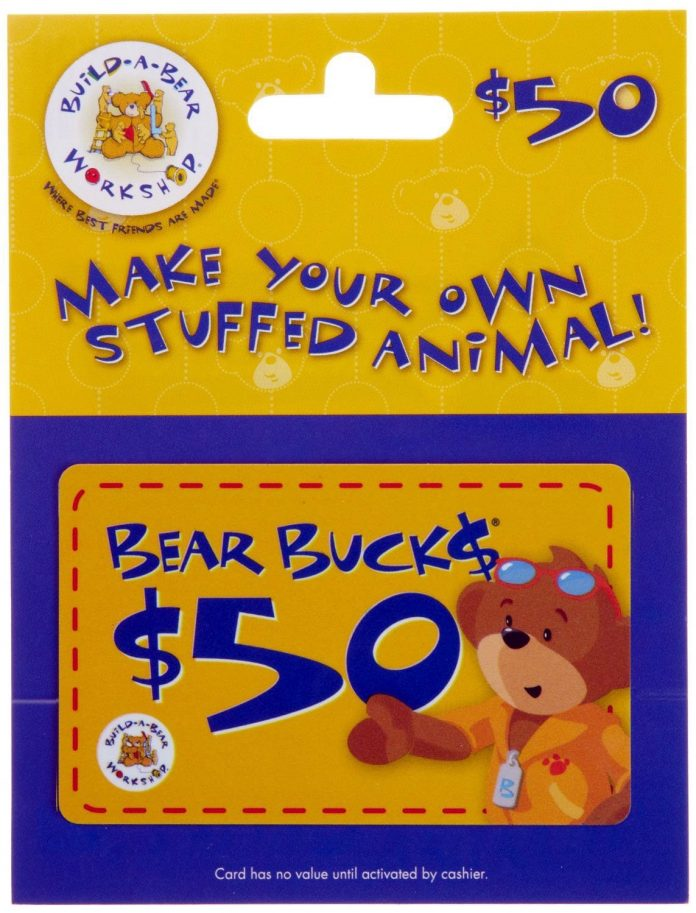 build a bear gift card 50 only 40 with lightning deal