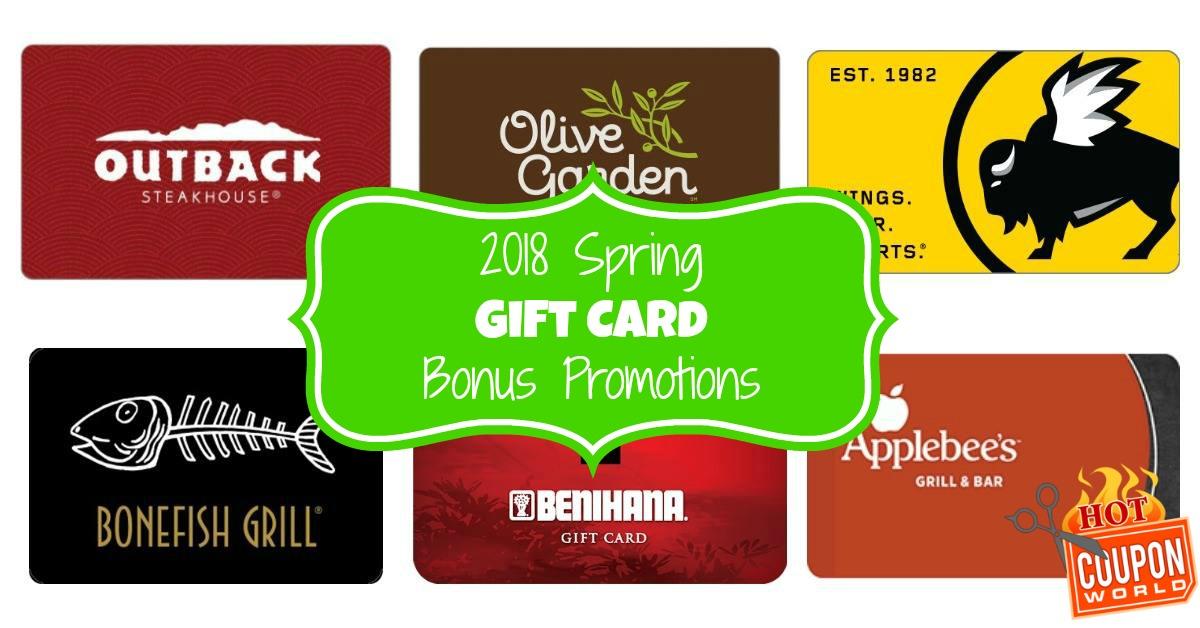 Restaurant Gift Card Bonus Promotions For Spring Gifting Hot
