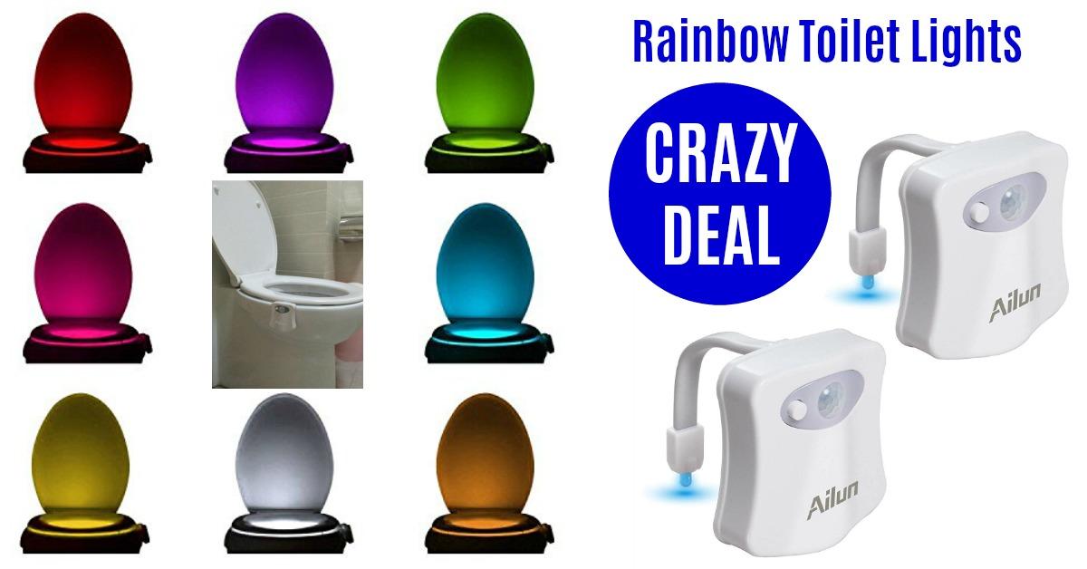 Rainbow Motion Sensor Toilet Night Lights (2 pack) HOT DEAL on Amazon