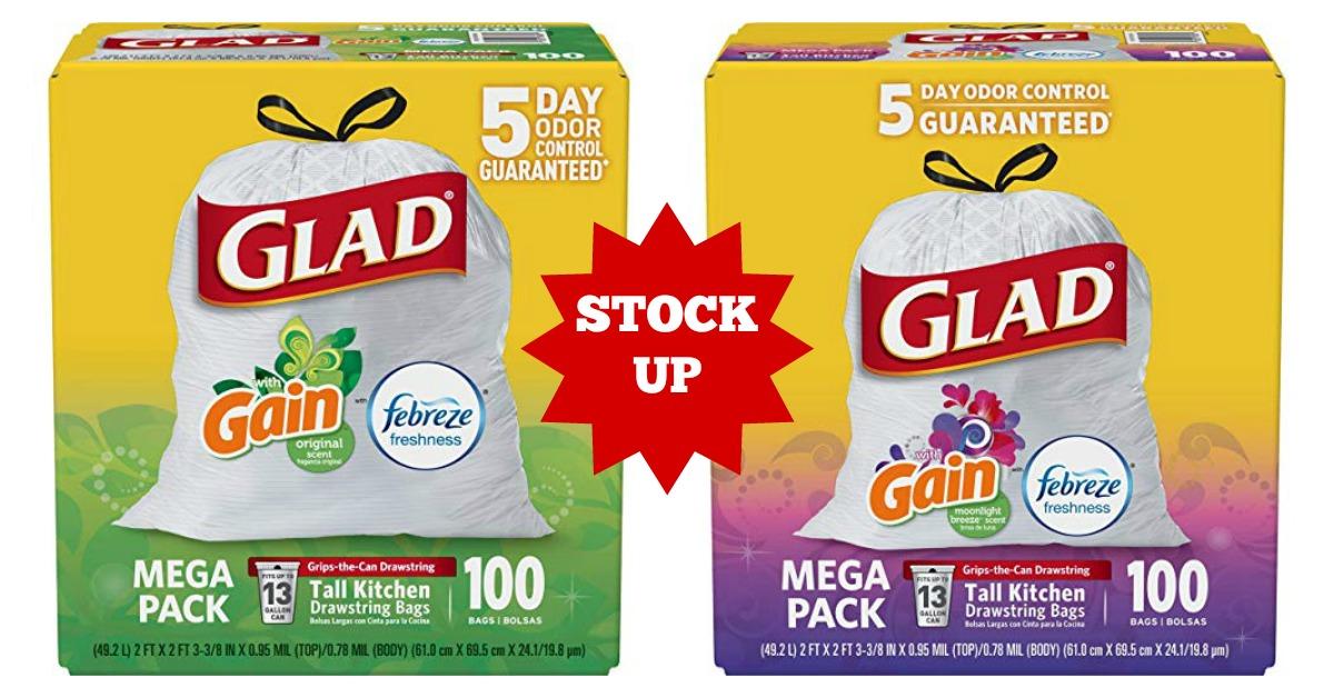 Glad Odorshield Tall Kitchen Drawstring Trash Bags Stock Up Deal