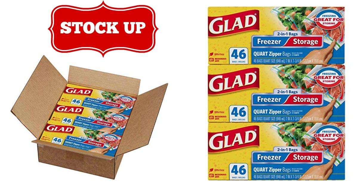 Glad Food Storage and Freezer 2 in 1 Zipper Bags - Quart on Amazon