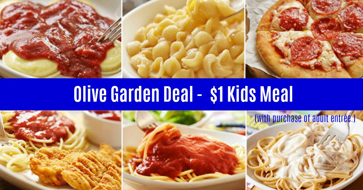 picture relating to Olive Garden Printable Menu known as Olive Backyard Coupon: $1.00 Small children Dinner! Very hot Coupon Globe