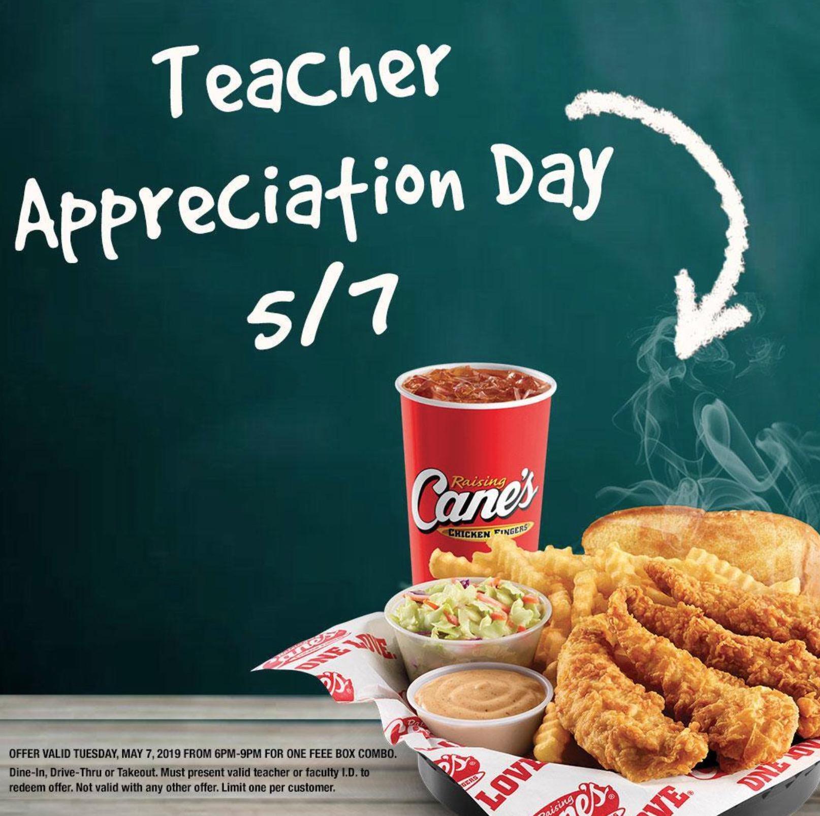 raising canes free box combo for teachers appreciation day