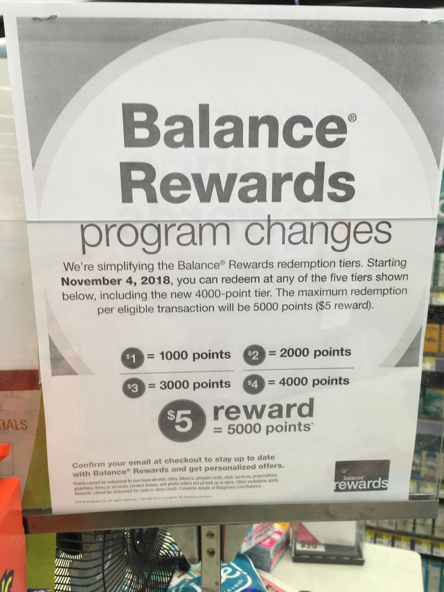 Balance Rewards Points Program Changes at Walgreens November 4
