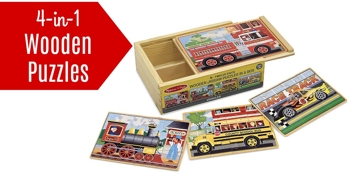 Melissa and Doug Wooden Puzzles 4 in 1 vehicles on Amazon