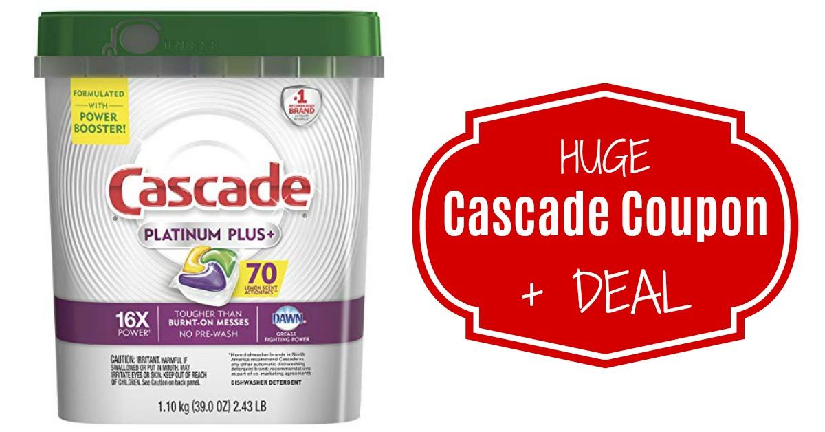 Cascade Platinum Plus Dishwasher Detergent Actionpacs, Lemon, 70 Count on Amazon