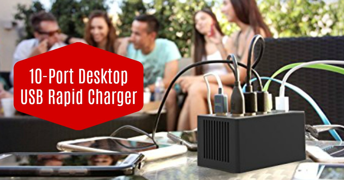 Sabrent 10-Port [UL Certified] Family-Sized Desktop USB Rapid Charger on Amazon