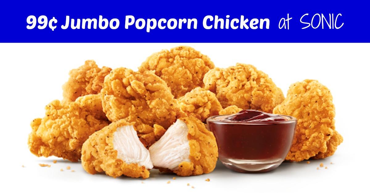 Sonic Popcorn Chicken Deal Code