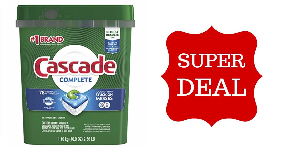 Cascade Complete ActionPacs Dishwasher Detergent, Fresh Scent, 78 Count on Amazon
