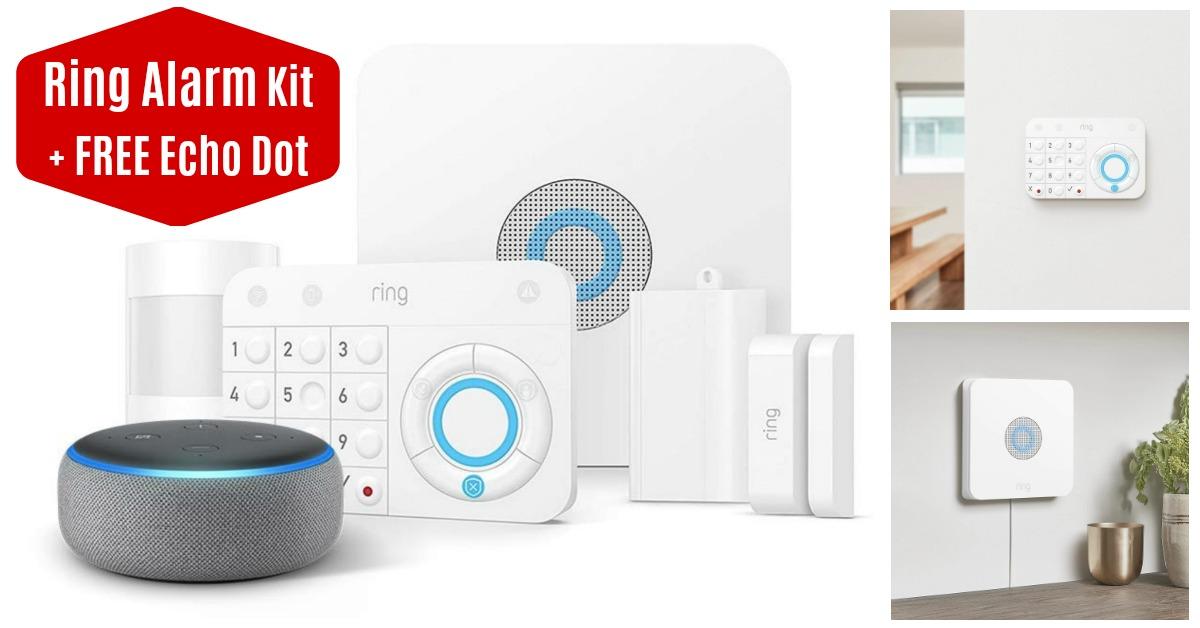 Ring Alarm 5 Piece Kit + Echo Dot on Amazon