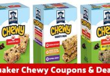 Quaker Chewy Granola Bars coupons on Amazon