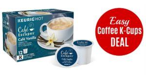 Cafe Escapes, Cafe Vanilla Coffee Beverage, Single-Serve Keurig K-Cup Pods, 72 Count (3 Boxes of 24 Pods)