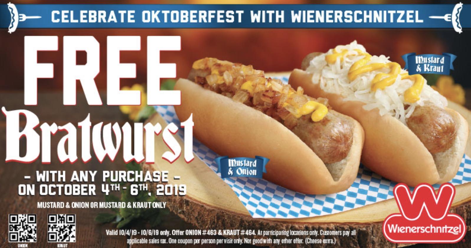 FREE Bratwurst at Wienerschnitzel Coupon