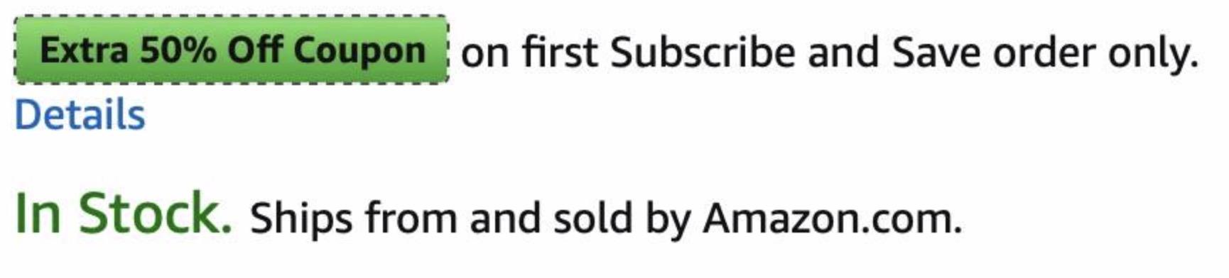 50% off coupon on Amazon