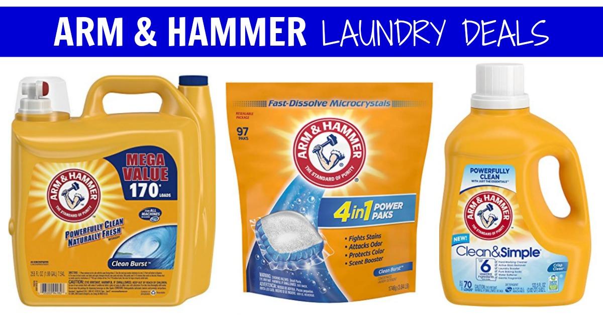 Amazon Arm Hammer Detergent coupons liquid Power Paks