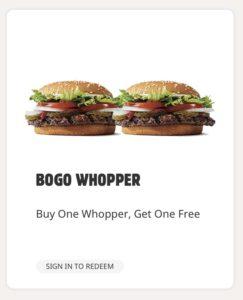 Burger King BOGO FREE Whopper Coupon