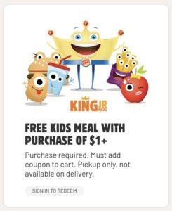 Burger King app coupon