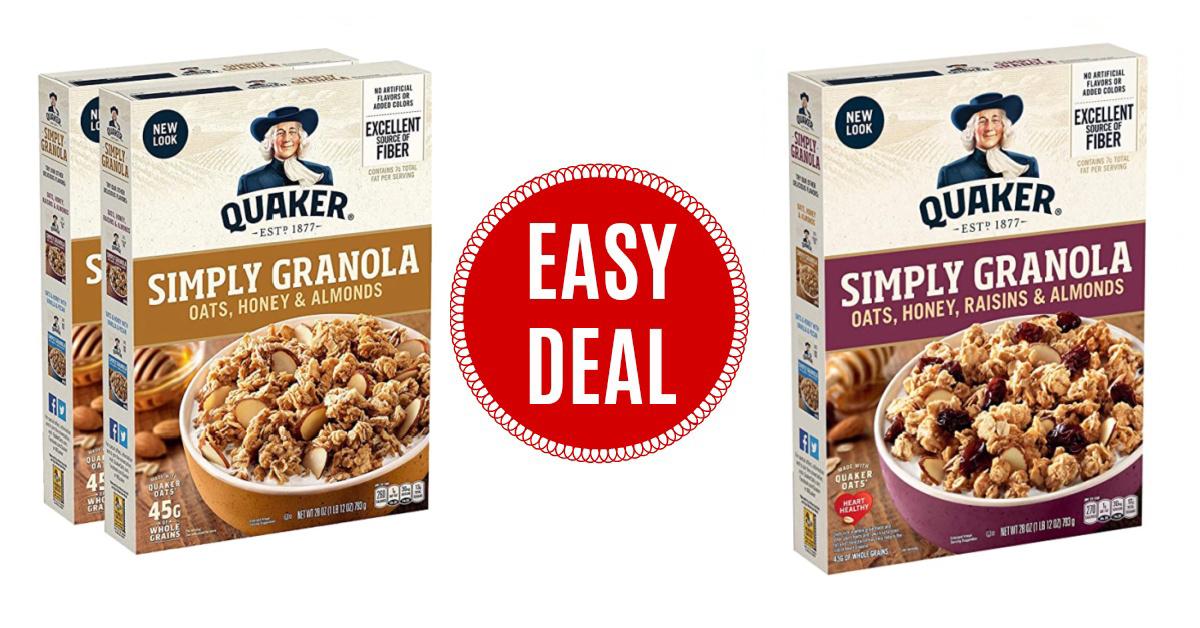 Quaker Simply Granola Oats, Honey & Almonds on Amazon