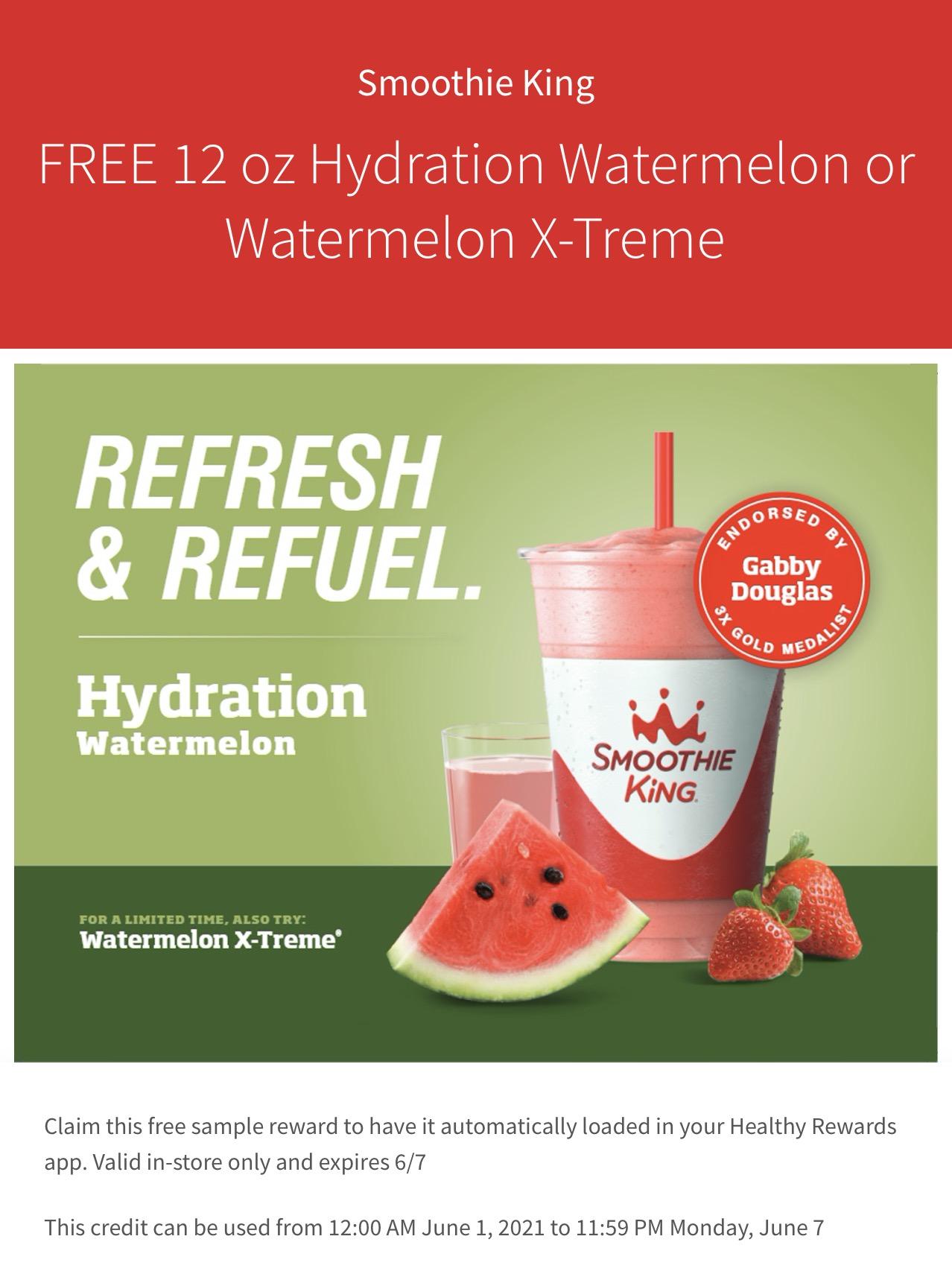 free watermelon smoothie at smoothie king